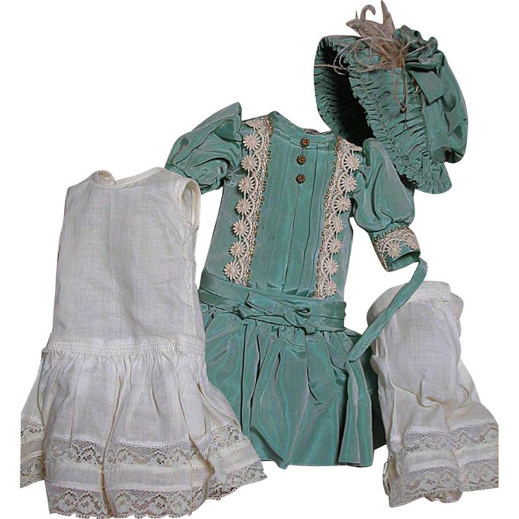 Beautiful Dress Outfit for Small Doll  French Bebe or German Dress  Hat Slip and Panties found at www.rubylane.com @rubylanecom