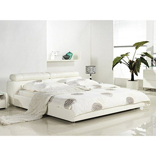 Casabianca Furniture Cannes Collection Leather Headboard with Match Rails Bed, Queen, White