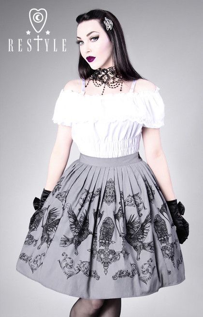 """CROWS AND LANTERNS"" gray, gothic lolita skirt, ravens 