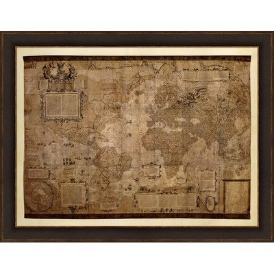 """Evive Designs """"Map of the World, c.1500's"""" by Mercator Gerhardt Framed Graphic Art"""