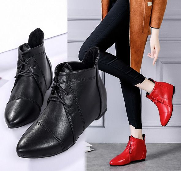 Womens Pointed Toe Flats Casual Lace Up Ankle Riding Boots Fashion Shoes A743