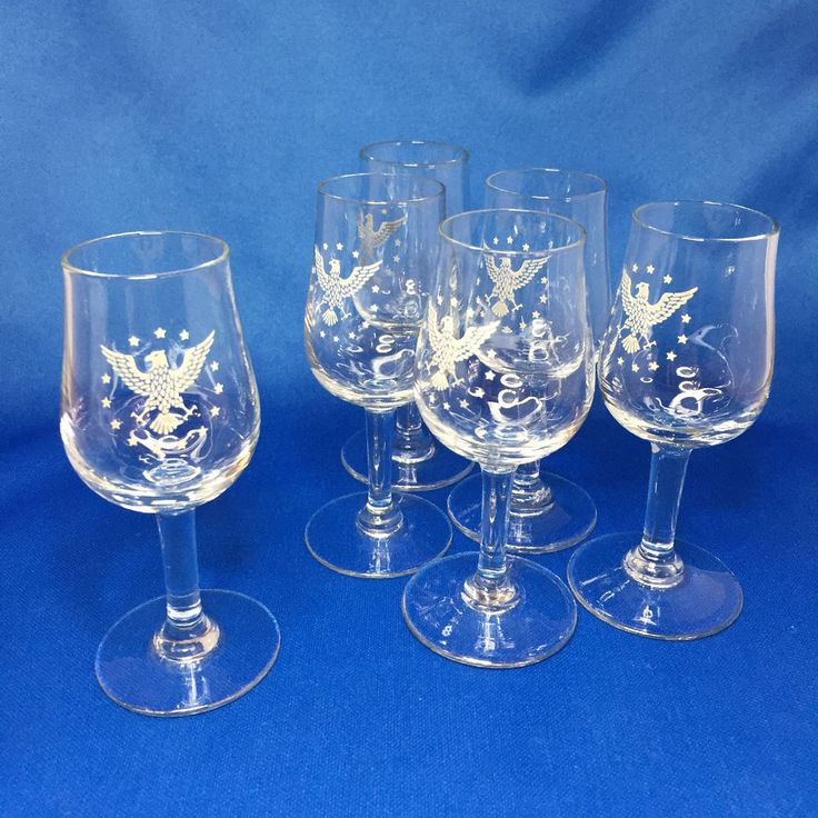 Pan Am President Cordial Liquor Glass Set of 6 First Class 1960s Mid-Century EUC in Collectibles, Transportation, Aviation   eBay