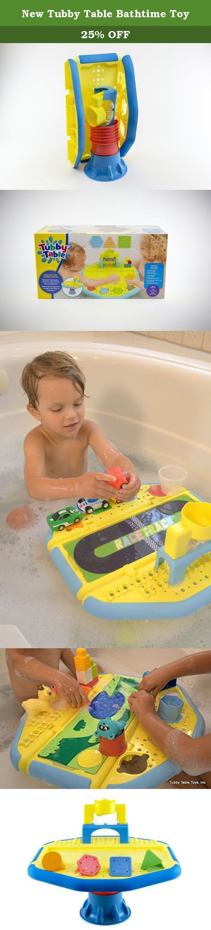 New Tubby Table Bathtime Toy. Introducing the New Tubby Table, the only bath-time activity table designed to keep your toddlers bath time play & bath water inside the tub and allow for mom & dad to focus all their attention back to their little one. It's a practical solution for keeping bath-time fun, educational and most of all dry! The easy-to-use New Tubby Table suctions to the bath tub floor keeping all the pouring & filling in the middle of the tub instead of on (or off) the edge of…
