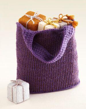 Free Crochet Pattern L0231AD Two-Color Tunisian Crochet Tote : Lion Brand Yarn Company
