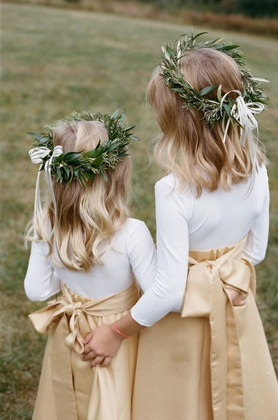20 Fall Flower Girl Outfits That Are Just Too Cute: #13. Beige maxi skirts, white shirts and greenery crowns