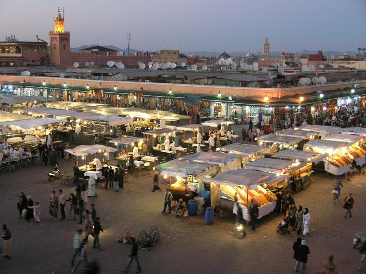 A marketplace in Morocco. One of the many sights to see on a trip to Morocco.