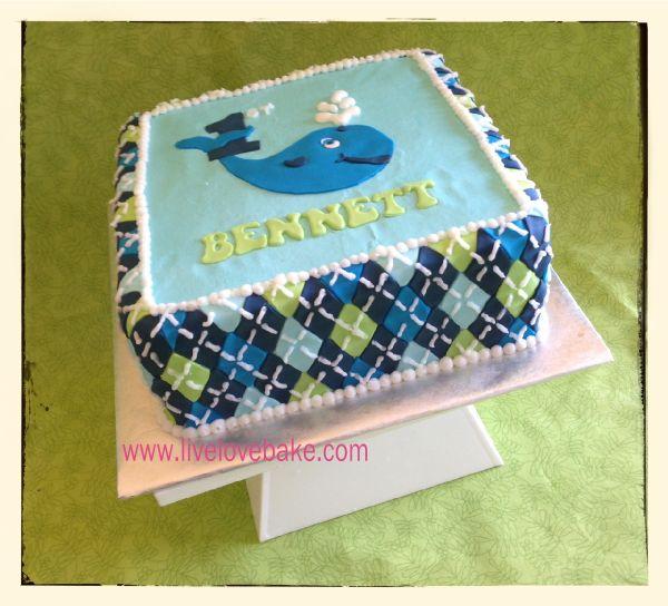 Ocean Preppy- Whale 1st Birthday Cake