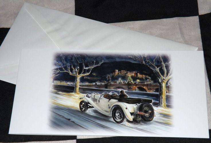 PRE WAR ROVER 12 ROADSTER IN HEIDELBERG NEW CHRISTMAS NOEL GREETINGS GIFT CARD