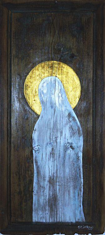 MADONA TICHÁ II. MADONA SILENT II. - akryl, zlatá gutta, dřevo - acryl, gold gutta, wood 33 x 75 cm