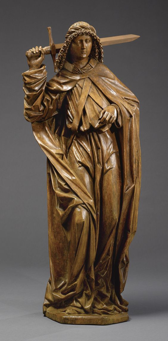 An Austrian wood figure of Saint Michael, circle of the Master of the Kefermarkt Altar (active 1473-1510), circa 1480, probably Upper Danube