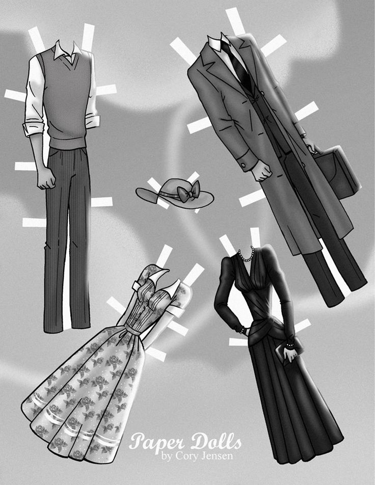 Paperman George and Meg Paper dolls by Cory