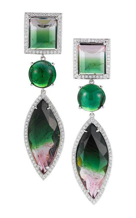 Watermelon Tourmaline, Gold And Diamond Earrings