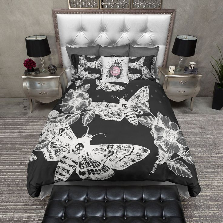White on Black Death Moth and Flower Duvet Bedding Sets