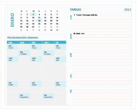 Plantilla de calendario de planificación semanal de estudiante (Excel)