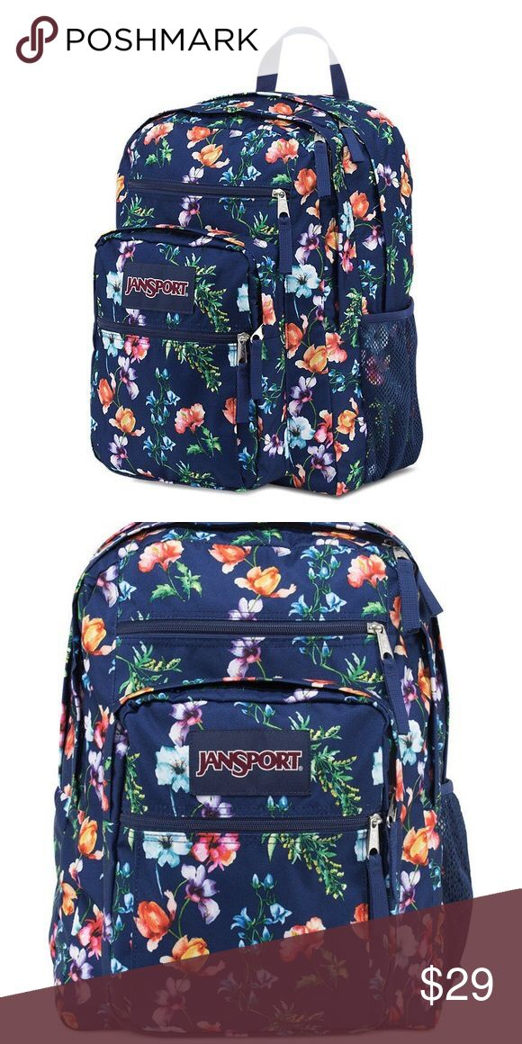 "Brand-new girls Jansport big student backpack Brand-new with tags. Big student mountain meadow backpack. Floral design. Two large main zippered compartments. Front compartment has organizer. Side pockets for drinks. It measures approximately     17.5"" x 13"". Jansport Accessories Bags"