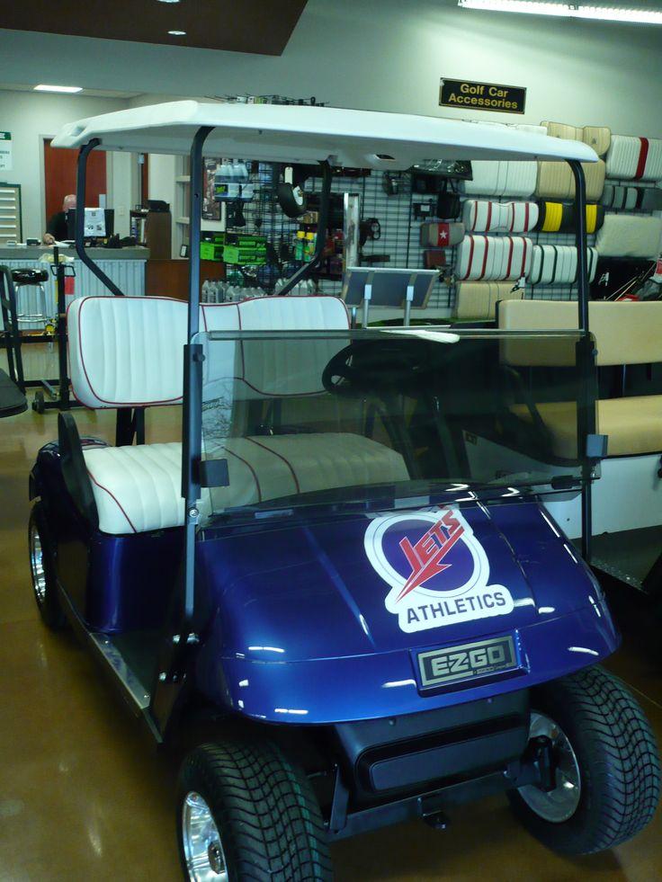 School logo golf cart with white custom seat Golf car