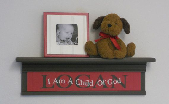 Personalized Red Baby Nursery Decor 24 Shelf by NelsonsGifts, $55.00