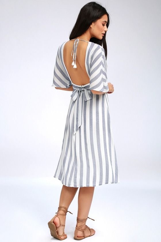 763bca888c3 Pier of Influence Blue and White Striped Midi Dress 4