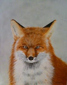 Schlauer Fuchs, Acrylics on Box Canvas 40x50cm, Painting, Fox