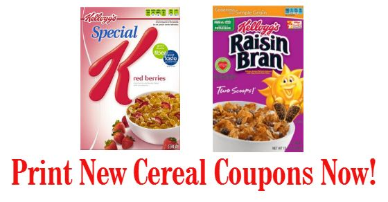 New Cereal Coupons = Great Savings on Raisin Bran & Special K!