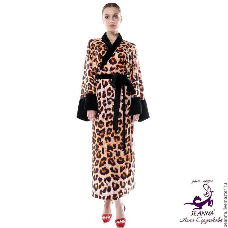 """Купить Пеньюар, халат """"Леопардовое-бархатное кимоно"""" регулируется на 3 размер - халат безразмерный"""