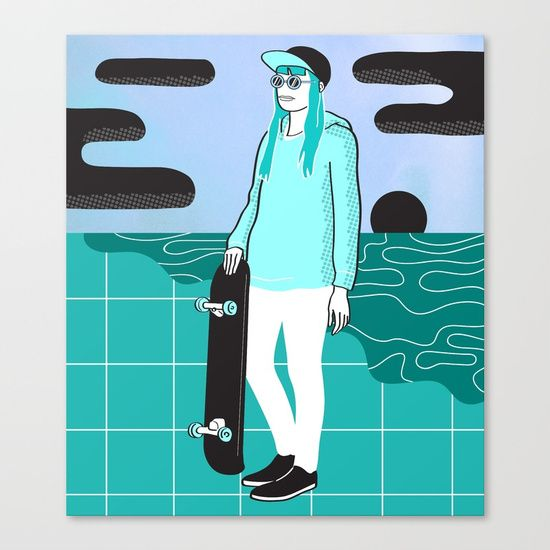 Check out society6curated.com for more! @society6 #illustration #wall #apartment #decor #homedecor #buy #shop #sale #drawing #canvas #artprint #shopping #apartmentgoals #sophomoreyear #sophomore #year #college #student #home #house #gift #idea #art #coolkid #blue #green #black #white #skateboard #skate #pop #popart