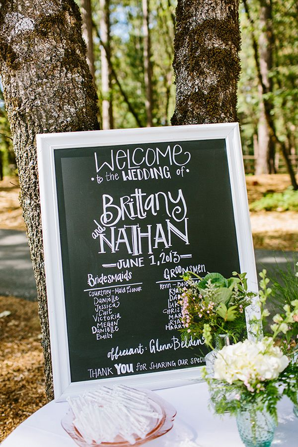 Chalkboard wedding ceremony sign showcasing the members of the wedding party #wedding #ceremony #decorations