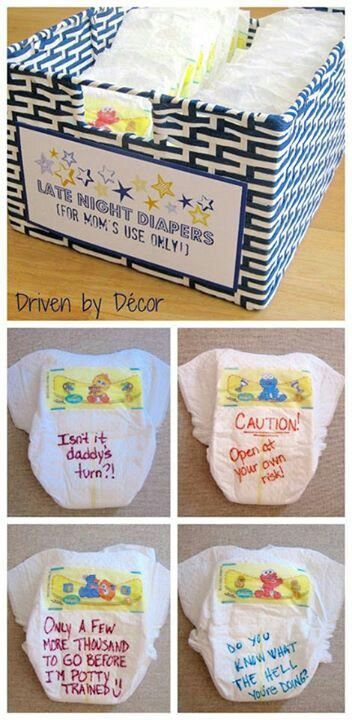 *BABY SHOWER GAME* have everyone write a message or something funny on a diaper and give the box to the mom to use when baby comes! :).........so far this is one of my favorite ideas. It will put a smile on mine or Bryans face when we are changing his diapers :) @Alicia T T T T T D'Anna