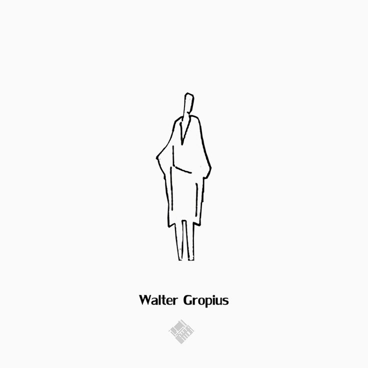 collection of drawn human figures by famous architects reflects their style + sensibility