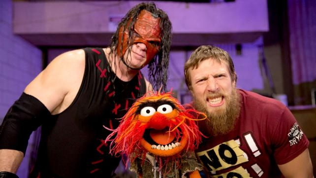 Kane & Daniel Bryan w/ Animal from the Muppets