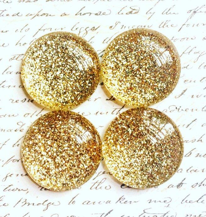 4 Glass Magnets - Gold Magnets - Gold Office Supplies - Magnets - Decorative…