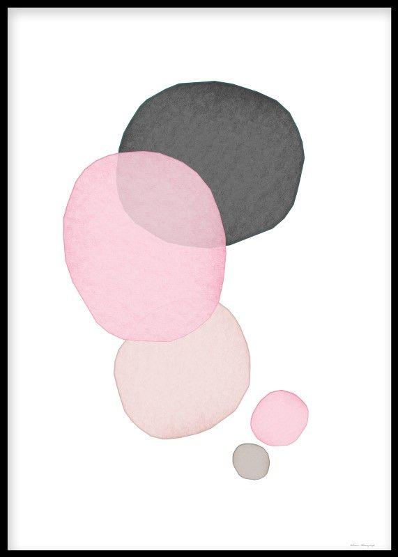 Poster med målade bubblor i grå, vit och rosa. Planscher och prints med abstrakta målningar. Tavlor som passar fint i en tavelvägg. Posters och prints med konst online.