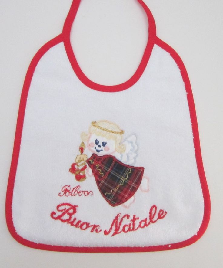 """This adorable bib with angel applique and the words """"Buon Natale"""" (Merry Christmas). Made in Palermo, Italy."""