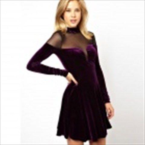 LC829886-1 2014 Hot Fashion Mesh Insert Velvet Skater Dress - Purple (Size-L)  $33.26
