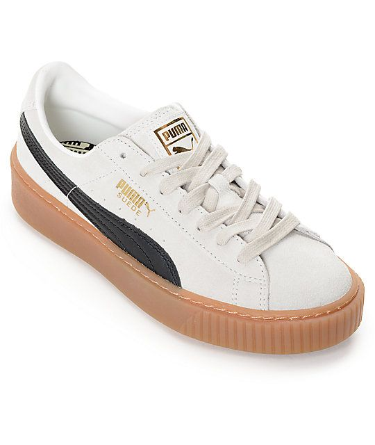 73c27634de23 PUMA Suede Platform Core White   Black Shoes (Womens)