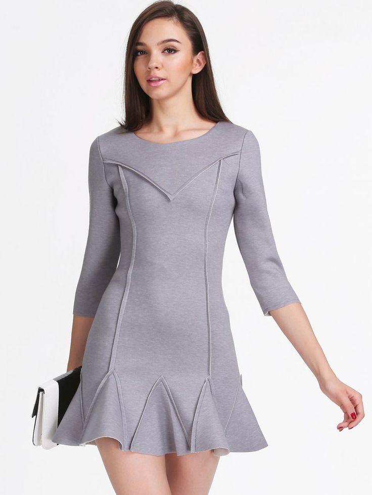 Fırfırlı Gri Elbise Gri Fırfırlı Elbise Elbise En Trend Elbiseler 180,00 TL