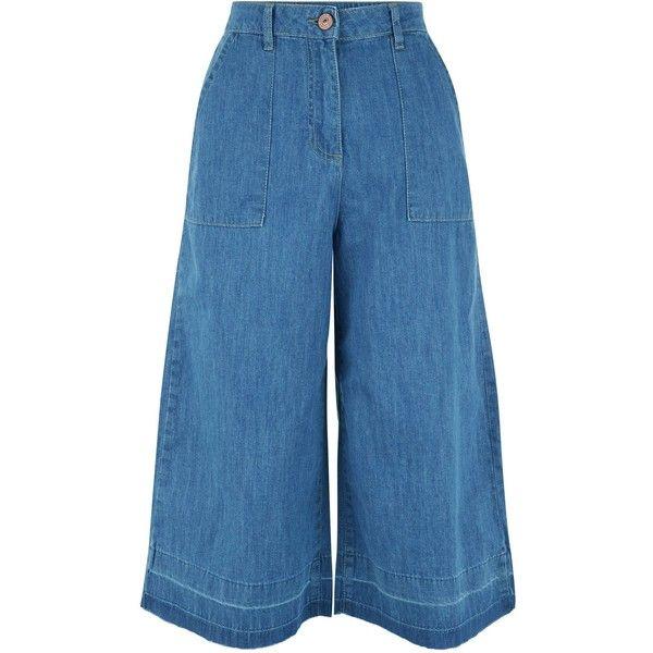 New Look Parisian Blue Denim Culottes found on Polyvore featuring pants, capris, blue, blue pants, wide leg denim pants, cropped pants, zip pants and zipper pants