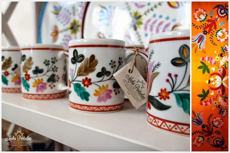 Old Muhu folk pattern on porcelain. www.muhuportselana.com