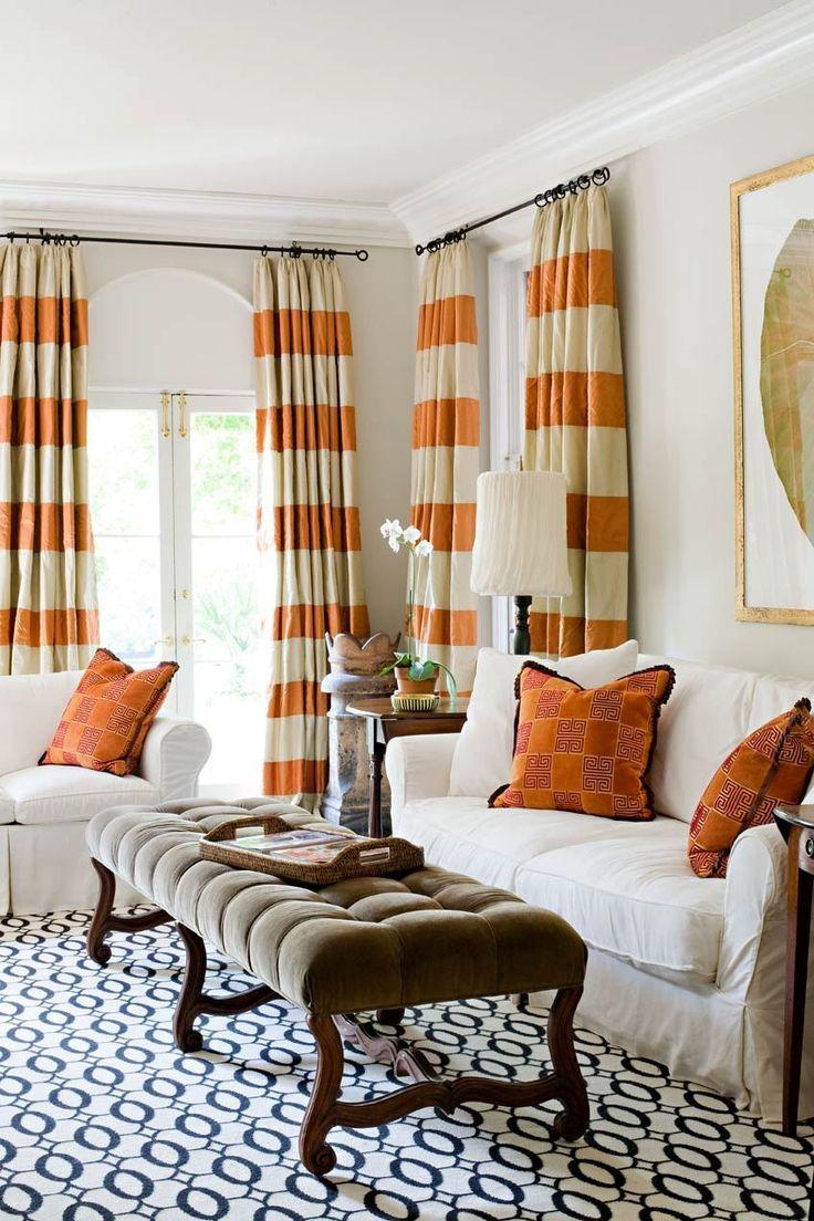 Orange and white horizontal striped curtains