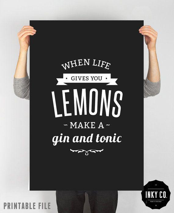Graphic Design poster Lemon print Printable File Vintage by INKYCO