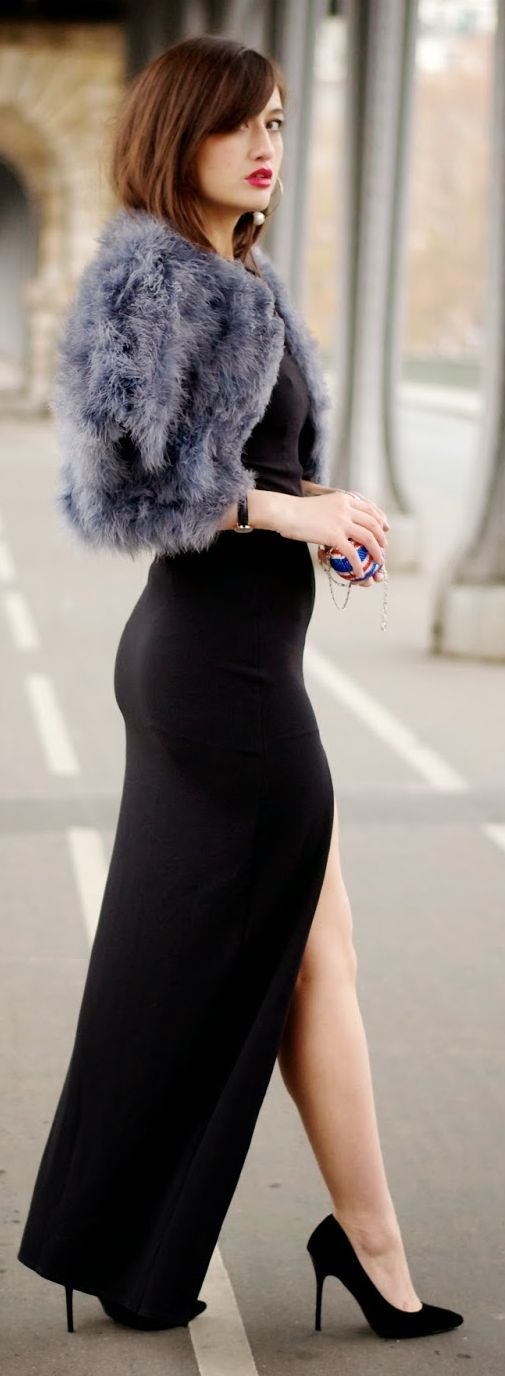 Great legs and curves in a black maxi dress