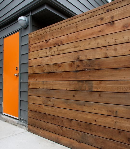 Horizontal Style Fence Made From Cedar Wood Panels Simple
