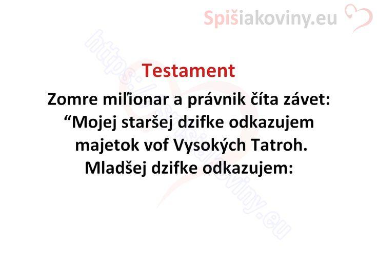Testament - Spišiakoviny.eu