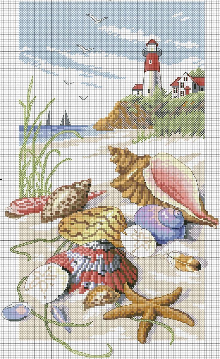 <3 broderie phare et coquillage sur la plage