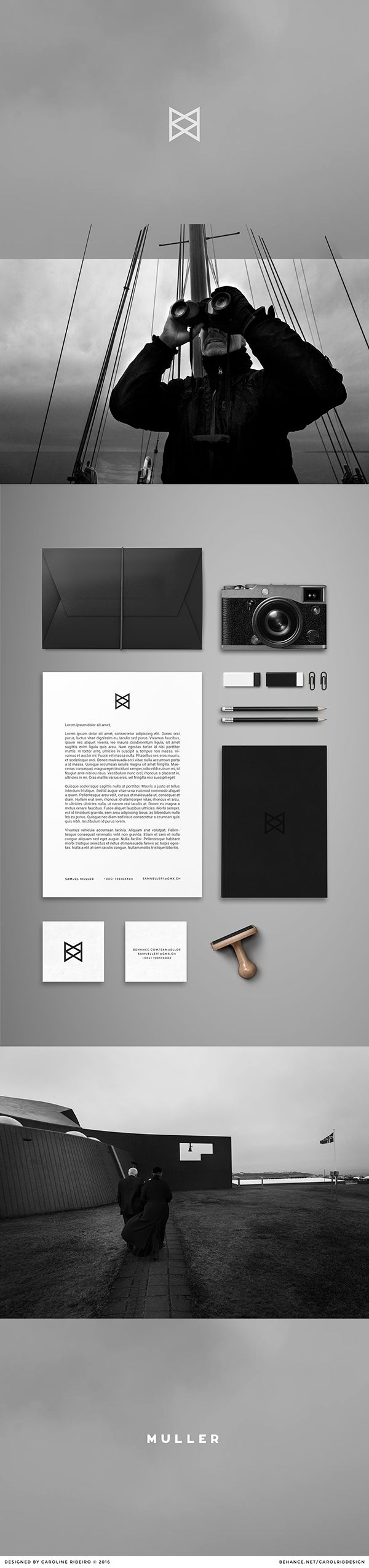 Logo and Visual Identity created for Samuel Muller, photographer based in Solothurn, Switzerland.   The geometrical logo comes from the view of the eye. The object transports light trough our eye and reflects it upside down on the other side. Those simple lines represents our view system.