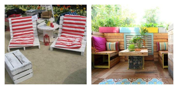 salon de jardin en palette : idées créatives pour terrasse avec fauteuils et canapé