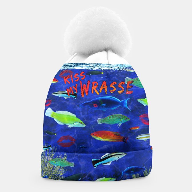 Kiss My Wrasse Fish  Beanie -   Keywords: kiss my wrasse, fish artwork, marine biology designs, fish humor, wildlife gifts, animal images, moon wrasse, pink-faced wrasse, cleaning wrasse, green wrasse, reef species art, types of wrasse fish, fish gift designs,  Ichthyology, life science designs, ocean designs, aquarium fish art, aquariums, oceans, aqua, coral reef art, bait shp decor, boat art, scuba designs, boat decor, fishermen gifts, fishing decor, man cave art, man cave designs