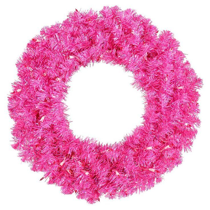 Vickerman 30 in. Hot Pink Pre-Lit Wreath - B881731