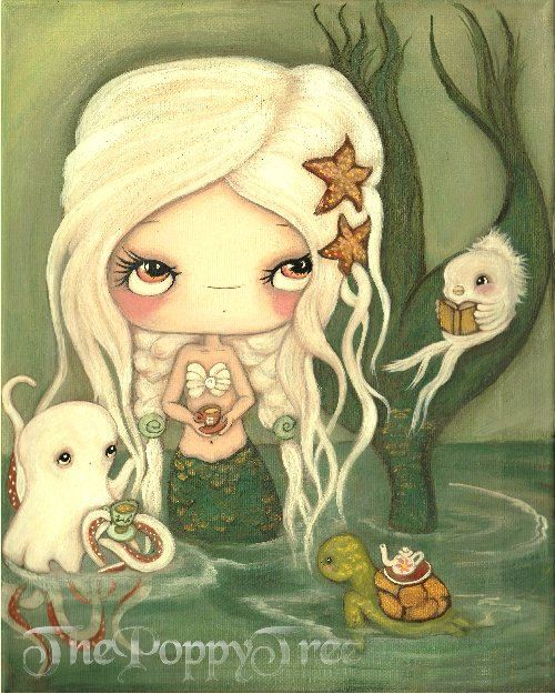Mermaid Art Print Nautical Tea Octopus, Fish Sea Turtle Girl Wall Art ---Tea At Sea