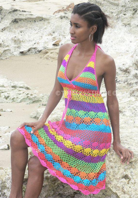 Handmade crochet dress 02 Multicolor by TIMELESSTRADE on Etsy